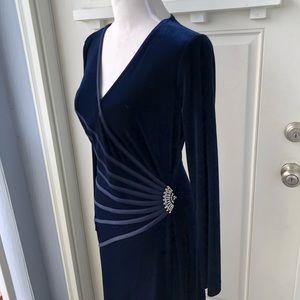 Tadashi Shoji Velvet Long Sleeve Formal Gown
